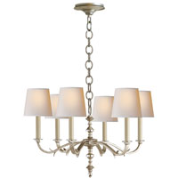 Visual Comfort Thomas OBrien Channing 6 Light Chandelier in Burnished Silver Leaf TOB5119BSL-NP