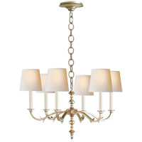 Visual Comfort TOB5119BSL-NP Thomas O'Brien Channing 6 Light 28 inch Burnished Silver Leaf Chandelier Ceiling Light