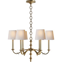 Thomas OBrien Channing 6 Light 28 inch Hand-Rubbed Antique Brass Chandelier Ceiling Light in (None)