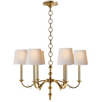 Thomas O'Brien Channing 6 Light 28 inch Hand-Rubbed Antique Brass Chandelier Ceiling Light
