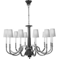 Visual Comfort Thomas OBrien Large Modern Library Chandelier in Burnished Silver Leaf with Natural Paper Shades TOB5128BSL-NP
