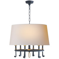 Visual Comfort TOB5135BR/HAB-NP Thomas O'Brien Calliope 6 Light 24 inch Blackened Rust with Antique Brass Hanging Shade Ceiling Light