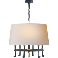Thomas OBrien Calliope 6 Light 24 inch Blackened Rust with Antique Brass Hanging Shade Ceiling Light