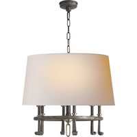 Thomas OBrien Calliope 6 Light 24 inch Sheffield Nickel with Antique Nickel Hanging Shade Ceiling Light