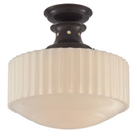 Visual Comfort Thomas OBrien Milton Road 1 Light Flush Mount in Bronze with Wax TOB5150BZ-WG