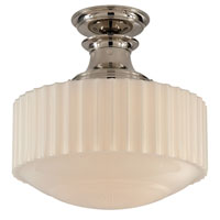 Visual Comfort Thomas OBrien Milton Road 1 Light Flush Mount in Polished Nickel TOB5150PN-WG