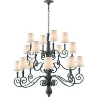 Visual Comfort Thomas OBrien Lillie Road 16 Light Chandelier in Dark Green  TOB5203DG-NP