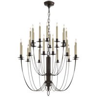 Visual Comfort Thomas OBrien Erika 24 Light Chandelier in Aged Iron with Wax TOB5205AI