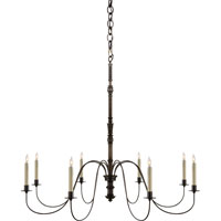 Visual Comfort Thomas OBrien Danny 8 Light Chandelier in Aged Iron with Wax TOB5210AI