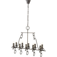 Visual Comfort Thomas OBrien Auguste 10 Light Chandelier in Aged Iron with Wax TOB5215AI