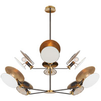 Thomas OBrien Osiris 8 Light 50 inch Bronze and Hand-Rubbed Antique Brass Reflector Chandelier Ceiling Light, Large
