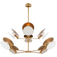 Thomas OBrien Osiris 8 Light 50 inch Hand-Rubbed Antique Brass Reflector Chandelier Ceiling Light, Large