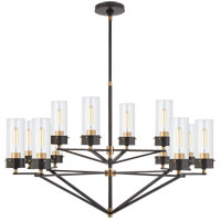 Visual Comfort TOB5303BZ/HAB-CG Thomas Obrien Marais 12 Light 45 inch Bronze and Hand-Rubbed Antique Brass Chandelier Ceiling Light in Clear Glass, Large
