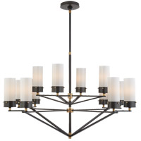 Visual Comfort TOB5303BZ/HAB-WG Thomas Obrien Marais 12 Light 45 inch Bronze and Hand-Rubbed Antique Brass Chandelier Ceiling Light in White Glass, Large