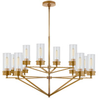 Visual Comfort TOB5303HAB-CG Thomas Obrien Marais 12 Light 45 inch Hand-Rubbed Antique Brass Chandelier Ceiling Light in Clear Glass, Large