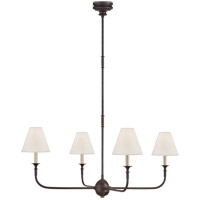 Thomas OBrien Piaf 4 Light 39 inch Aged Iron and Ebonized Oak Chandelier Ceiling Light, Large