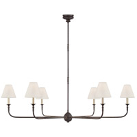 Visual Comfort TOB5452AI/EBO-L Thomas Obrien Piaf 6 Light 58 inch Aged Iron and Ebonized Oak Chandelier Ceiling Light, Grande
