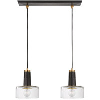 Thomas Obrien Iris 2 Light 21 inch Bronze and Hand-Rubbed Antique Brass Linear Pendant Ceiling Light