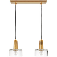 Thomas Obrien Iris 2 Light 21 inch Hand-Rubbed Antique Brass Linear Pendant Ceiling Light