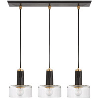 Visual Comfort TOB5704BZ/HAB-CG Thomas OBrien Iris 3 Light 27 inch Bronze and Hand-Rubbed Antique Brass Linear Pendant Ceiling Light