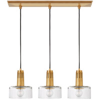 Thomas Obrien Iris 3 Light 27 inch Hand-Rubbed Antique Brass Linear Pendant Ceiling Light