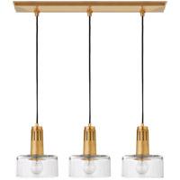 Visual Comfort TOB5704HAB-CG Thomas OBrien Iris 3 Light 27 inch Hand-Rubbed Antique Brass Linear Pendant Ceiling Light