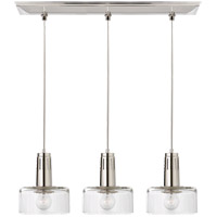 Visual Comfort TOB5704PN-CG Thomas OBrien Iris 3 Light 27 inch Polished Nickel Linear Pendant Ceiling Light