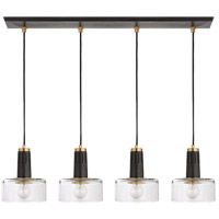 Thomas OBrien Iris 4 Light 37 inch Bronze and Hand-Rubbed Antique Brass Linear Pendant Ceiling Light