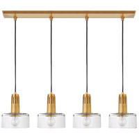 Visual Comfort TOB5705HAB-CG Thomas OBrien Iris 4 Light 37 inch Hand-Rubbed Antique Brass Linear Pendant Ceiling Light