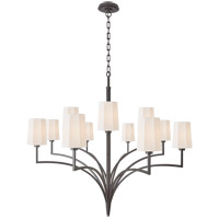 Thomas OBrien Pietro 12 Light 45 inch Aged Iron Chandelier Ceiling Light, Grande Two Tier