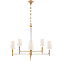 Visual Comfort TOB5943HAB-L Thomas OBrien Lyra 8 Light 43 inch Hand-Rubbed Antique Brass and Crystal Two Tier Chandelier Ceiling Light