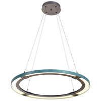 Vermont Modern 139776-1026 Ringo LED 33 inch Silver with Satin Aqua Accent Pendant Ceiling Light photo thumbnail