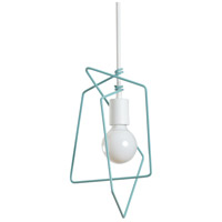 Vermont Modern 151030-1088 Filament 1 Light 10 inch Satin White with Satin Aqua Accent Mini Pendant Ceiling Light