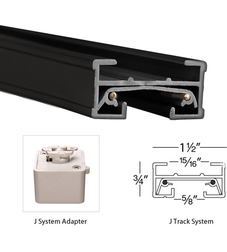 WAC Lighting JL-RIGHT-BK 120V Track System Black Right L Track Connector Ceiling Light in J Track alternative photo thumbnail