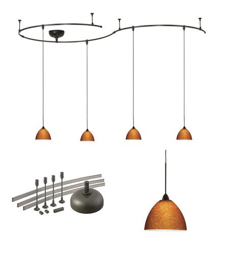 Wac Lighting Solorail 4 Light Lm Rail Pendant Kit In Dark Bronze With Amber Gl K541 Am Db