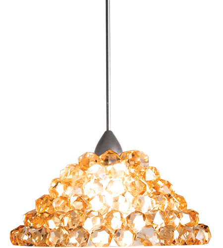 WAC Lighting QP-LED543-WD//BN Giselle Quick Connect LED Pendant White Diamond Shade with Brushed Nickel Socket Set