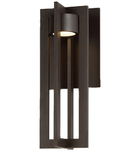 WAC Lighting WS W48616 BZ Chamber LED 7 Inch Bronze Wall Light In 16in,  DweLED