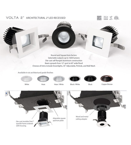 WAC Lighting R2RAT-N840-HZWT Volta LED Module Haze White Recessed Downlights, Round alternative photo thumbnail