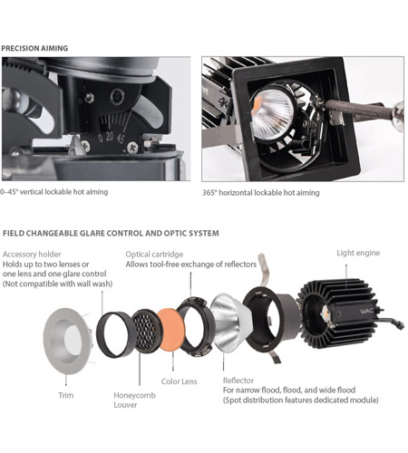 WAC Lighting R2RAT-N827-HZWT Volta LED Module Haze White Recessed Downlights, Round alternative photo thumbnail