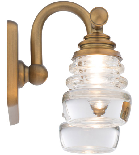 WAC Lighting WS-42514-AB Rondelle LED 6 inch Aged Brass Wall Sconce Wall Light in 14in, dweLED alternative photo thumbnail