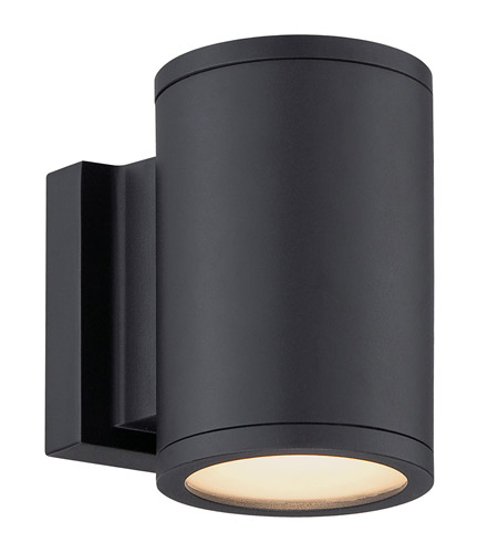 wac lighting ws w2604 bk tube led 7 inch black double side outdoor wall mount