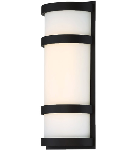 Justice Design Group Ambiance Collection Tapered Rectangle 1 Light Gloss Black Led Outdoor Wall Sconce
