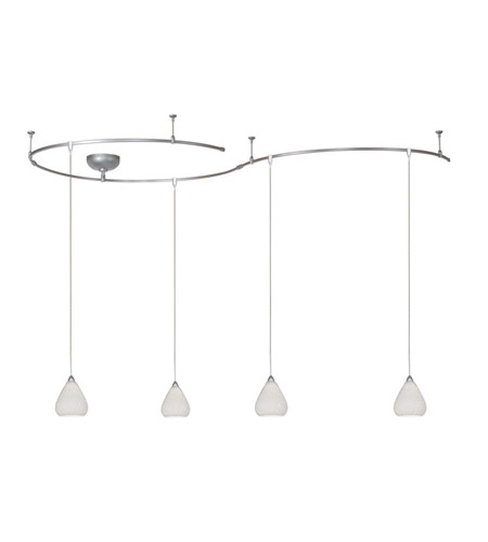 WAC Lighting Solorail 4 Light LM Rail Pendant Kit in Brushed Nickel with White Glass LM-K590-WT/BN photo