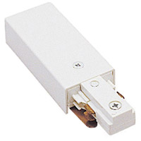 WAC Lighting J2-LE-WT 120V Track System White Track Live End Connector Ceiling Light in J2