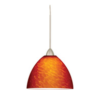 WAC Lighting MP-LED541-AM/BN Contemporary LED 6 inch Brushed Nickel Pendant Ceiling Light in Amber (Contemporary), Canopy Mount MP