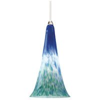 European 1 Light 5 inch Brushed Nickel Pendant Ceiling Light in Halogen, Blue/Green, Canopy Mount MP