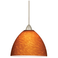 Contemporary 1 Light 6 inch Brushed Nickel Pendant Ceiling Light in Amber (Contemporary), Canopy Mount MP