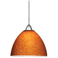 Contemporary 1 Light 6 inch Chrome Pendant Ceiling Light in Amber (Contemporary), Canopy Mount MP