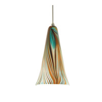 WAC Lighting MP-630LED-PK/BN Artisan LED 10 inch Brushed Nickel Pendant Ceiling Light in Peacock, Canopy Mount MP