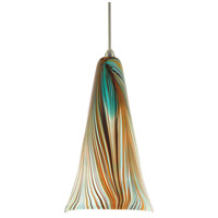 WAC Lighting MP-630-PK/BN Artisan 1 Light 5 inch Brushed Nickel Pendant Ceiling Light in Halogen, Peacock, Canopy Mount MP